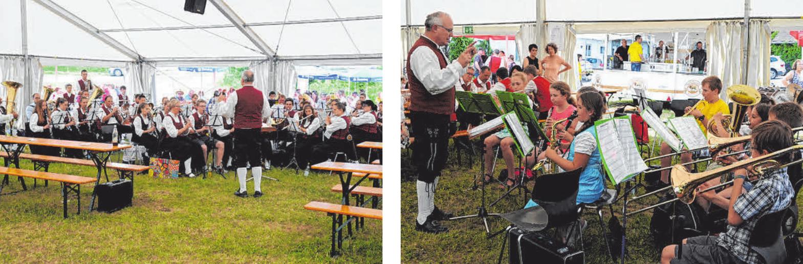 Der Musikverein Schemmerhofen sorgt immer für gute Laune – egal bei welchem Wetter. FOTOS: PRIVAT