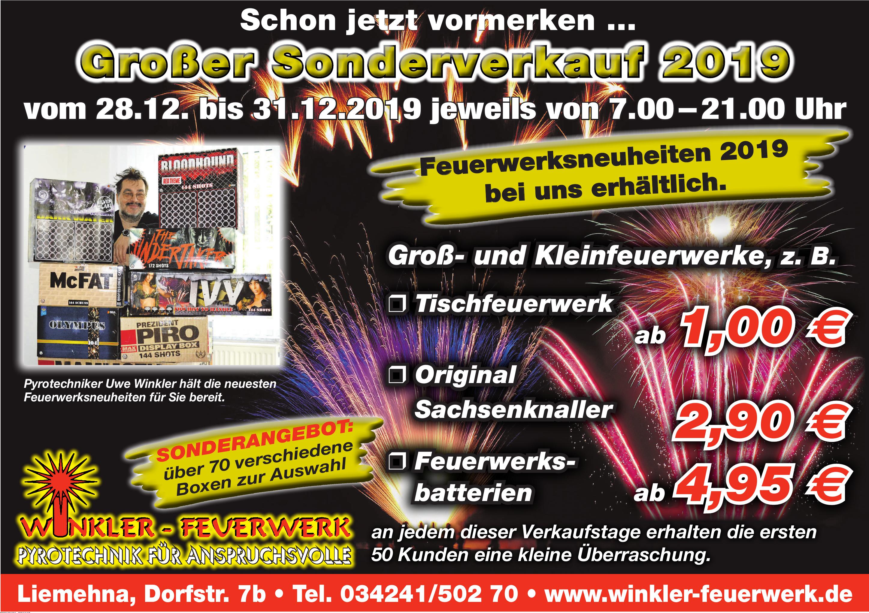 Winkler Feuerwerk Pyrotechnik für Anspruchsvolle