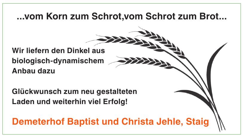 Demeterhof Baptist und Christa Jehle, Staig