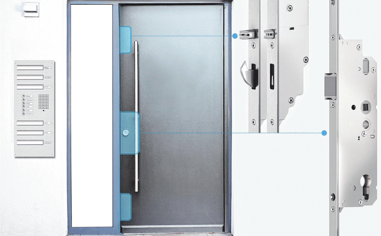 Die Automatik-Mehrfachverriegelung für Mehrfamilienhäuser ermöglicht das jederzeitige Verlassen des Gebäudes. Hierzu verzichtet sie auf die Blockade des Drückers, sodass die verriegelte Tür auch ohne Schlüssel von innen geöffnet werden kann. FOTO: DJD/SIEGENIA-AUBI