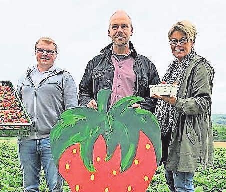 Gemeinsam mit dem Lieferanten Christoph Rokahr (Mitte) freuen sich Wennigsens Marktleiter Viktor Ortmann und seine Mitarbeiterin Ute Petrich über die süßen Früchte, die es in den EDEKA-Frischemärkten in Wennigsen, Ronnenberg und Gehrden gibt. Foto: Archiv