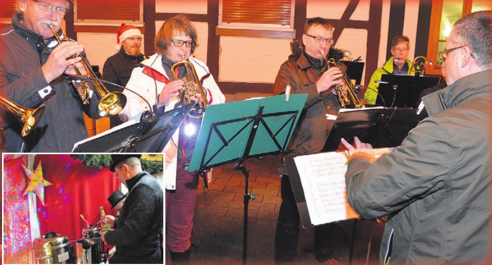 Zum Auftakt gab es beim Vorsfelder Weihnachtsmarkt Feuerzangenbowle und Musik vom Posaunenchor.