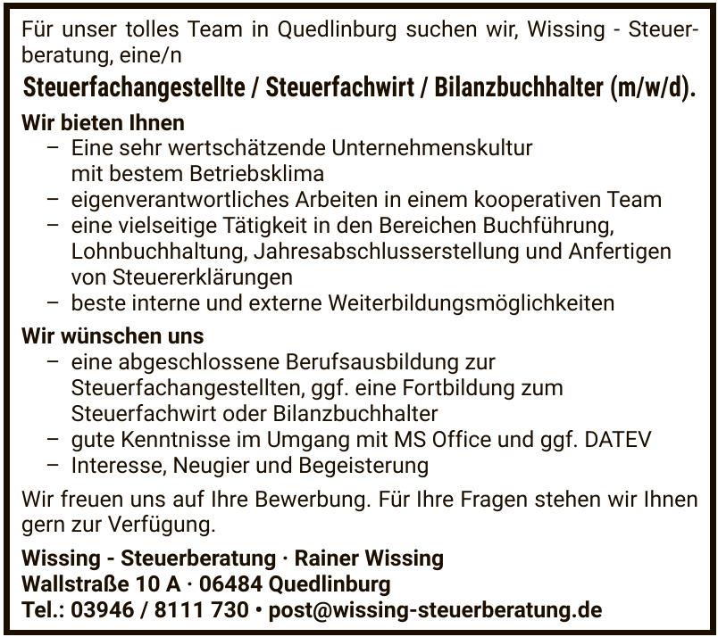 Wissing - Steuerberatung · Rainer Wissing