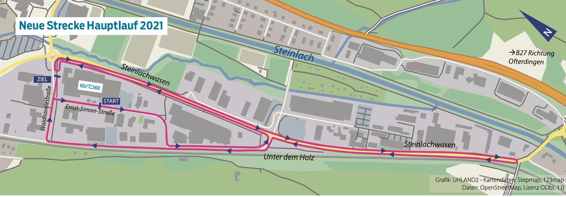 """Start des Hauptlaufs ist in der Ernst-Simon-Straße. Die Strecke führt um das Erbe Firmengebäude, dann hinunter über den """"Steinlachwasen"""". Kurz vor demKreisel zur B27 geht es wieder zurück über """"Unter dem Holz"""" und biegt zur Waldhörnlestraße ab, bevor es erneut in die Ernst-Simon-Straße geht. Es werden 2,5 Runden gelaufen."""