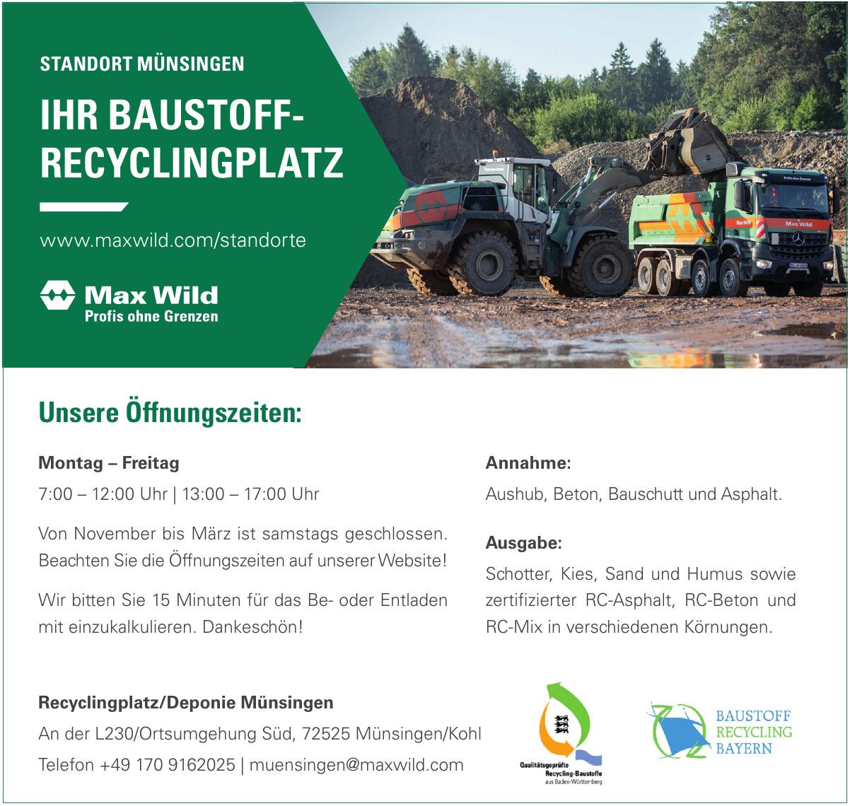 Recyclingplatz/Deponie Münsingen