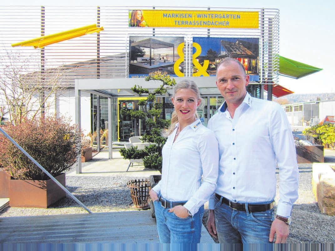 Jacqueline Heiter und Alexander Schmidtke von Glasbau Storz. FOTO:STORZ