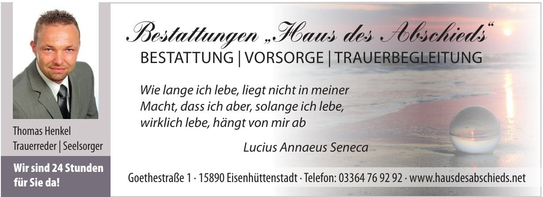 """Bestattungen """"Haus des Abschieds"""""""