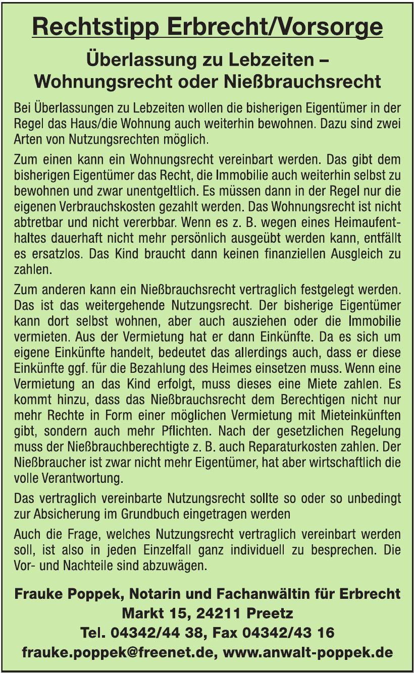 Frauke Poppek, Notarin und Fachanwältin für Erbrecht