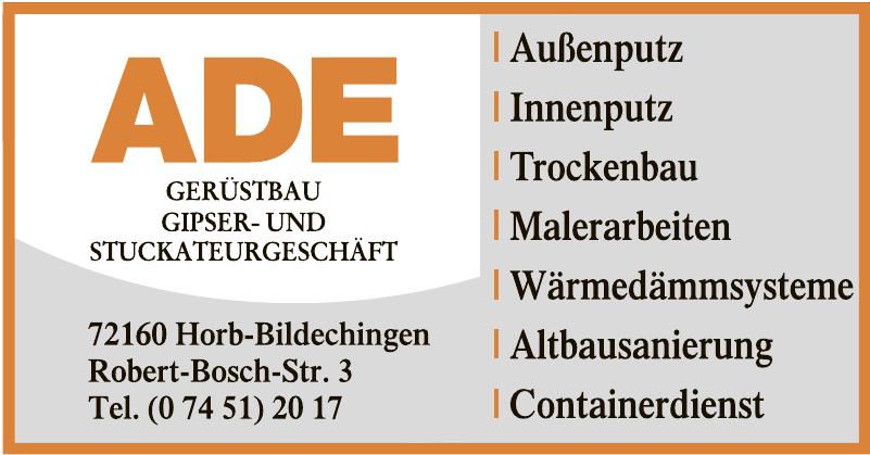 ADE Gerüstbau Gipser- und Stuckateurgeschäft