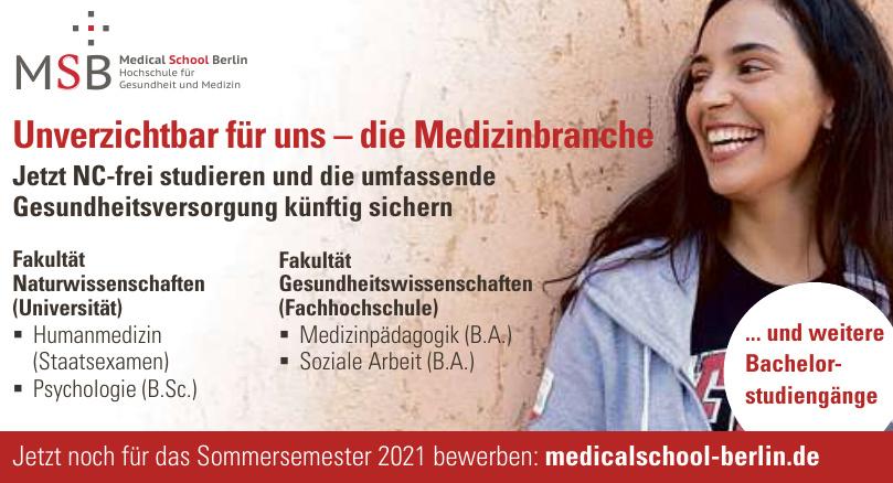 MSB Medical School Berlin Hochschule für Gesundheit und Medizin