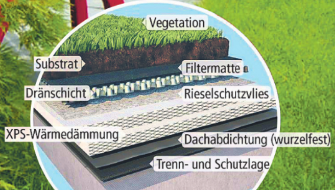 Ein Gründach als Umkehrdach verdoppelt dessen Lebensdauer und kann bei extensiver Begrünung wie ein echter Garten bepflanzt werden. Foto: djd/FPX Fachvereinigung