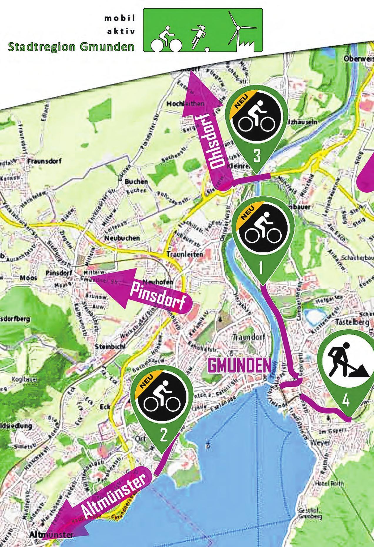 """Von der Stadt Gmunden aus in alle Richtungen verläuft das """"Radstern-Netz"""". Foto: Stadtamt Gmunden"""