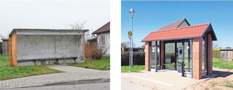 Die alte und die neue Bushaltestelle in Goldbeck.