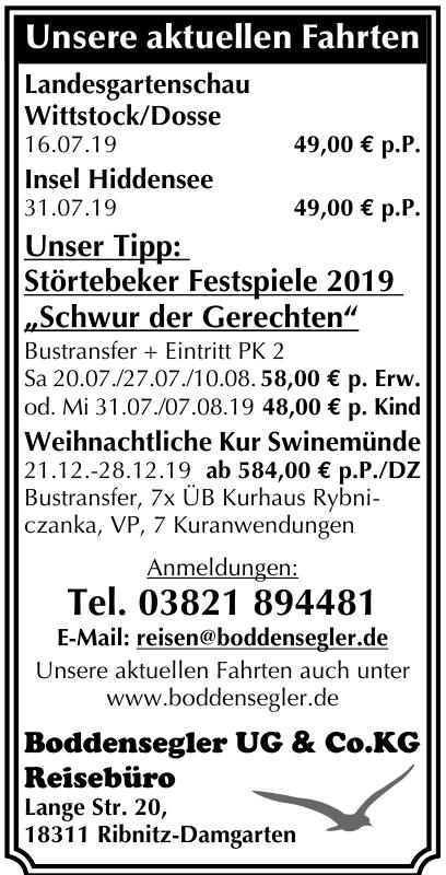 Boddensegler UG & Co.KG Reisebüro