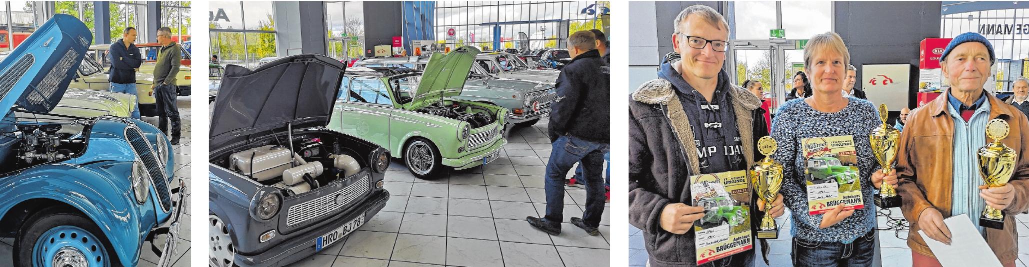 Natürlich wurde auch unter die Motorhaube geschaut. Schwelgen in Erinnerungen: Besonders die Trabbis standen bei den Besuchern unter besonderer Aufmerksamkeit. Das sind die diesjährigen Gewinner des 2. Oldtimer Treff im Autohaus Brüggemann.
