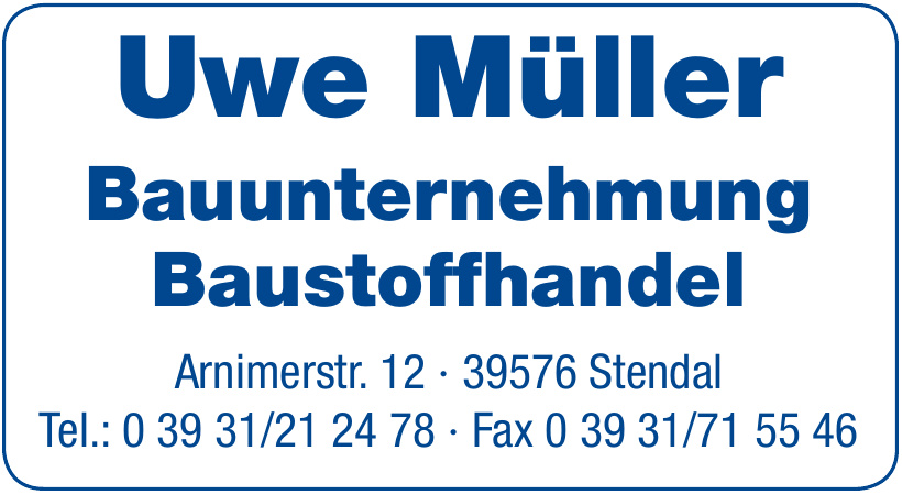 Uwe Müller Bauunternehmung Baustoffhandel