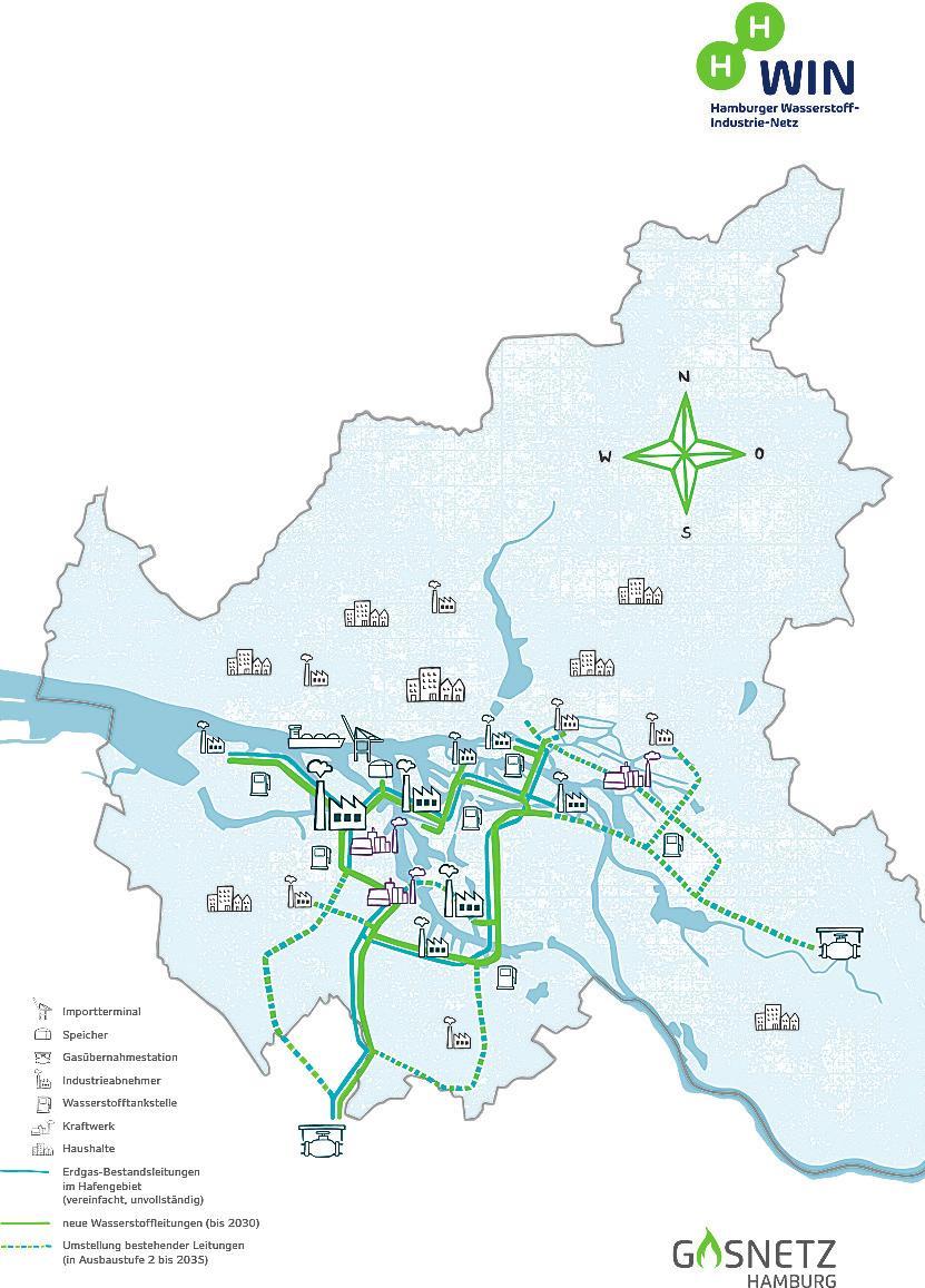 HH-WIN ist die verbindende Transportinfrastruktur, über die Hamburg künftig grünen Wasserstoff für seine Industrie von Produktions- und Einspeisepunkten zu den Abnehmern verteilen wird. Das Leitungsnetz wird eine Länge von zunächst 60 Kilometern haben
