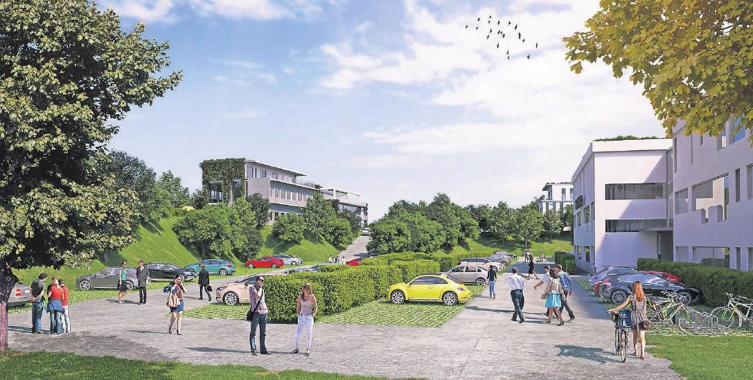 Recycelbare Baumaterialien, Dach- und Fassadenbegrünung, viele Grünflächen und nahezu keine Oberflächenversiegelung: Der neue Campus wird nach strengen ökologischen Kriterien angelegt.