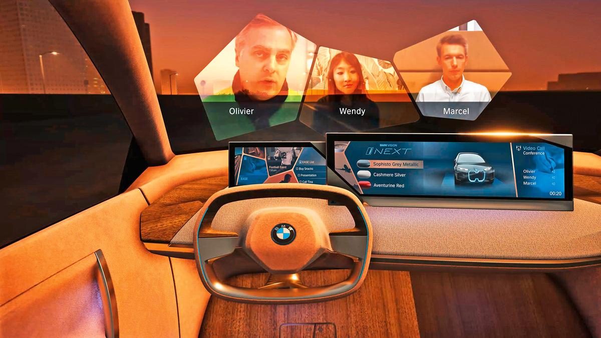 Big Screen Im autonomen Fahrmodus wird die Windschutzscheibe zum Bildschirm – etwa für eine Videokonferenz.