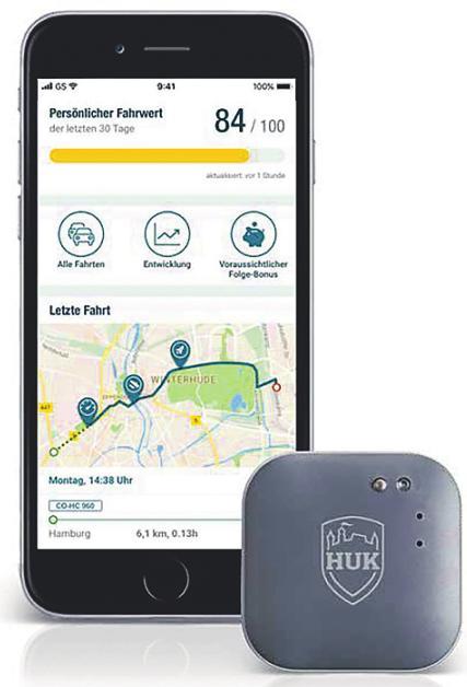 Der Sensor ermittelt mit der App die Fahrdaten.