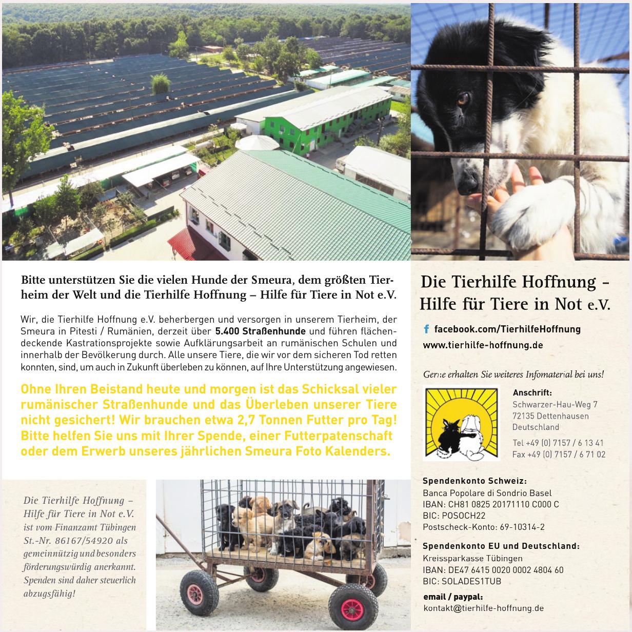 Die Tierhilfe Hoffnung – Hilfe für Tiere in Not e.V.