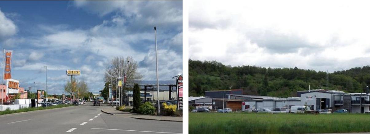 Die beiden Mössinger Gewerbegebiete Riethäcker (links) und Vor Dörnach werden in den nächsten Jahren mit schnellem Glasfaser-Internet Leitungen ausgebaut. Bilder: Uhland2