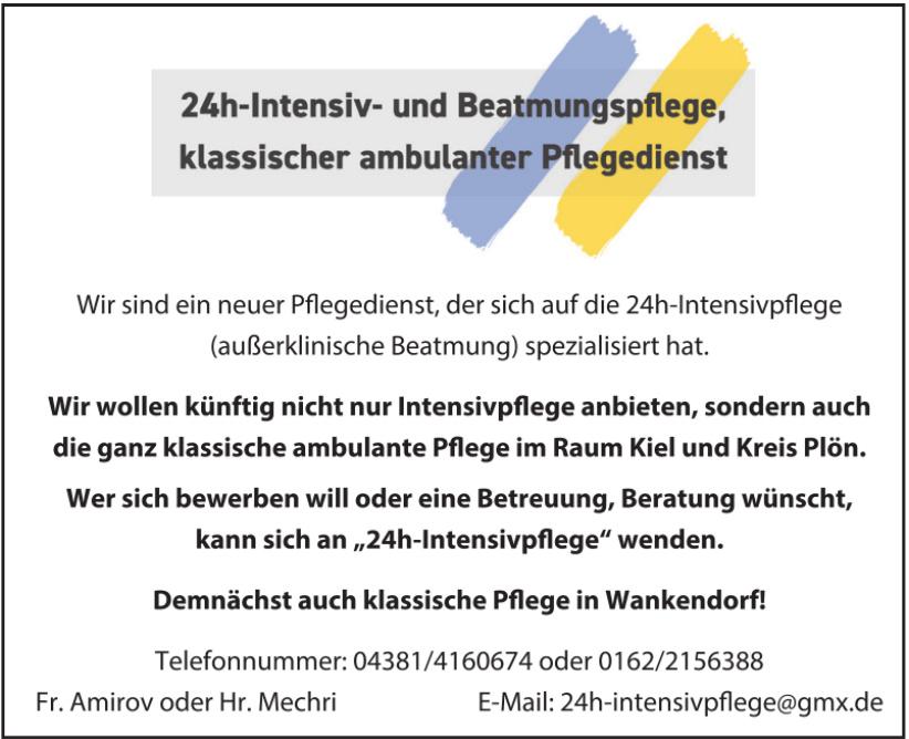 24h-Intensiv- und Beatmungspflege, klassischer ambulanter Pflegedienst