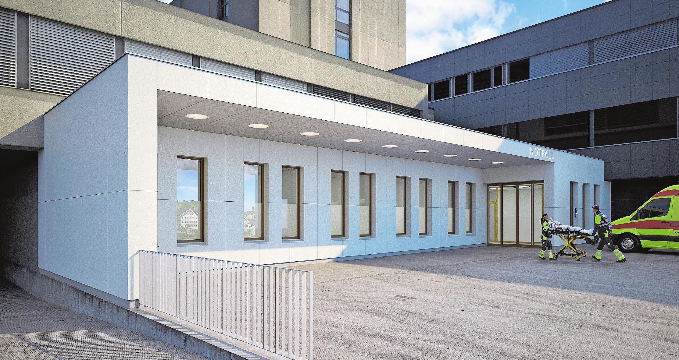 Die Zufahrt zum neuen Standort der Notfallstation ist über den Eingang West rund um die Uhr zugänglich. Bilder: PD