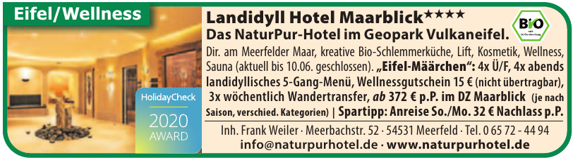 Das NaturPur-Hotel im Geopark Vulkaneifel