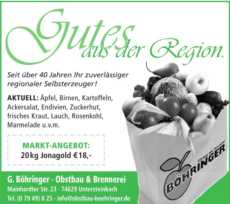G. Böhringer · Obstbau & Brennerei