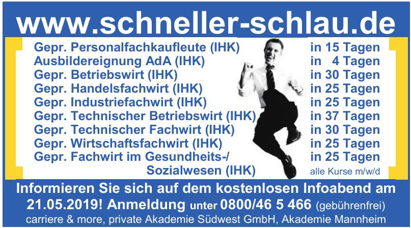 carriere & more, private Akademie Südwest GmbH, Akademie Mannheim