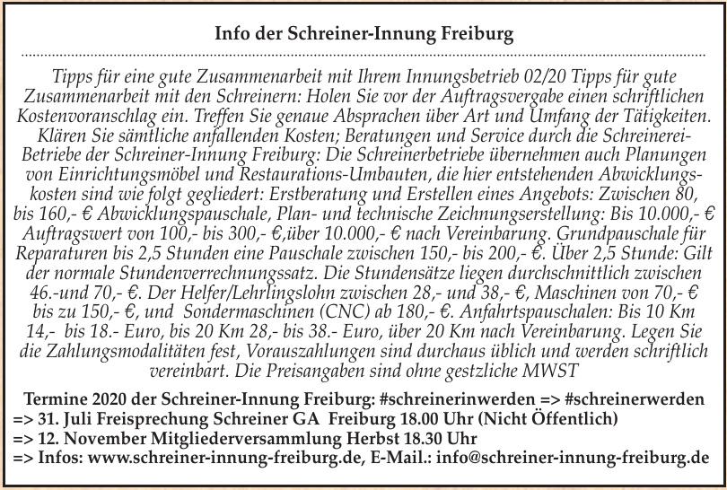 Schreiner - Innung Freiburg