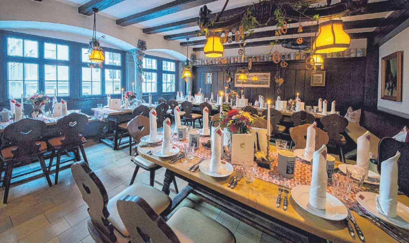 In der Engelstube im ersten Stock finden bis zu 55 Gäste Platz. Sowohl dort als auch auf der Dachterrasse finden unter anderem Empfänge und Bierschulungen statt.