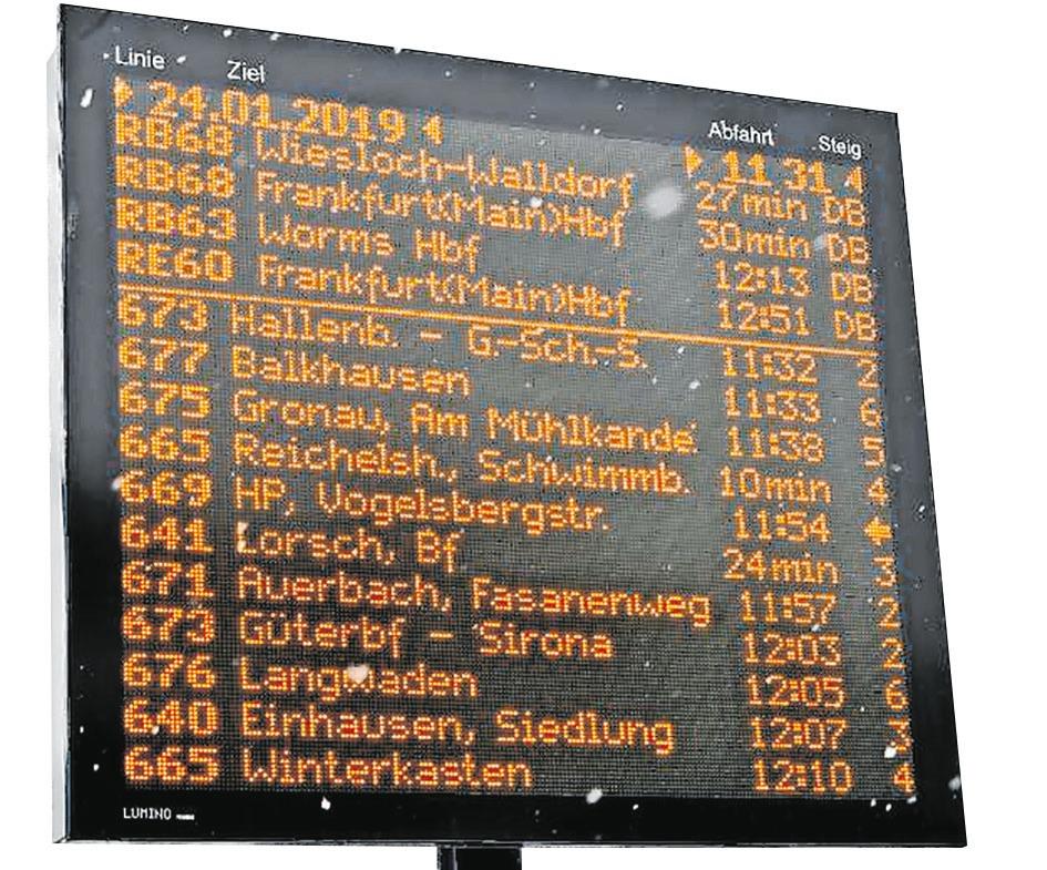 Alles auf einen Blick: Die Anzeigetafel gibt Auskunft über Abfahrtzeiten.| Bild: Dietmar Funck