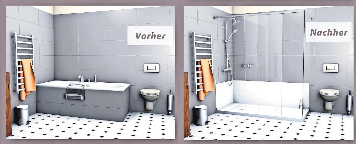 WANNE WEG, DUSCHE REIN: So kann ein sicheres, barrierefreies Badezimmer aussehen. Foto: Curabad