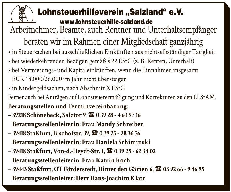 """Lohnsteuerhilfeverein """"Salzland"""" e.V.- Beratungsstellenleiterin: Frau Mandy Schreiber"""