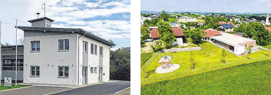 Die Feuerwehr Emprechting wurde neu gebaut und der Kindergarten wurde erweitert. Fotos: Gemeinde Hohenzell