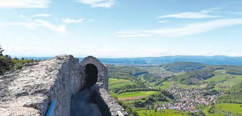 Nur etwas für Schwindelfreie: Von der Schildmauer hat man einen atemberaubenden Blick bis zu den Vogesen.
