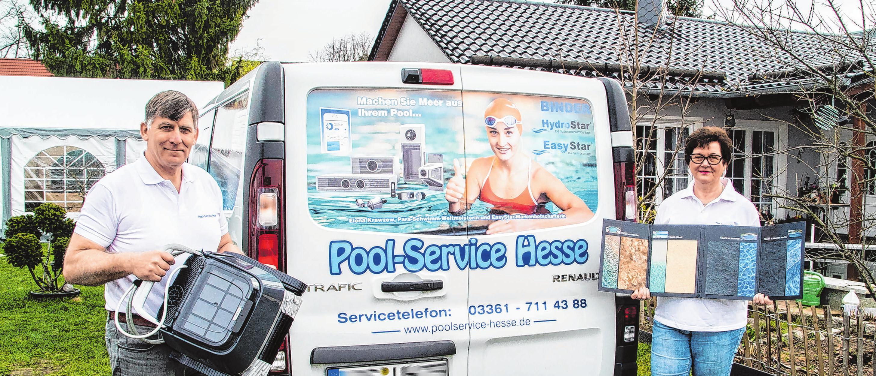"""Firmenchef Udo Hesse und Ehefrau Gabriele vom """"Pool-Service-Hesse"""" sind gemeinsam seit fünfzehn Jahren für ihre Kunden ein kompetenter Ansprechpartner. Fotos (4): A. Winkler"""