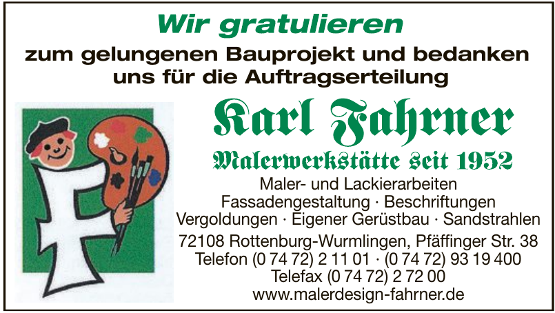 Maler- und Lackierarbeiten Karl Fahrner