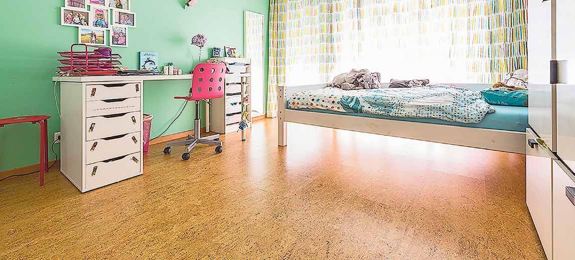Kork vermittelt durch seine Natürlichkeit ein angenehmes Raumklima und ist sehr pflegeleicht. Ideal fürs Kinderzimmer. Bilder: PD