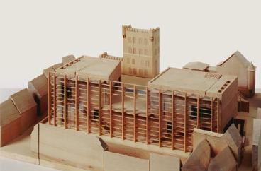 Das Modell der Kunsthalle Würth auf dem aufgelassenen Gelände der ehemaligen Löwenbrauerei. FOTOS: ARCHIV/WÜRTH