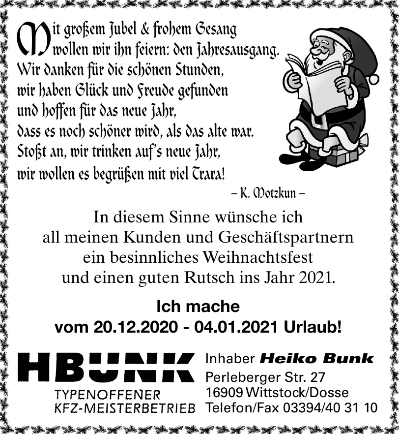 HBUNK Typenoffener Kfz-Meisterbetrieb