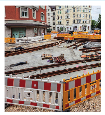 Sommer 2017: Einbau der- Gleisdreiecke Wagner-/ Beyerstraße