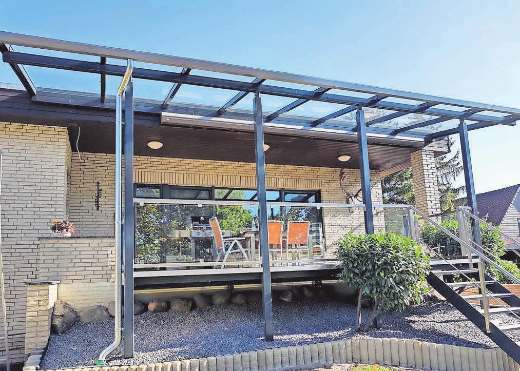Terrassen, Haus- oder Kellereingänge werden mit Vordächern oder einer Überdachung geschützt.