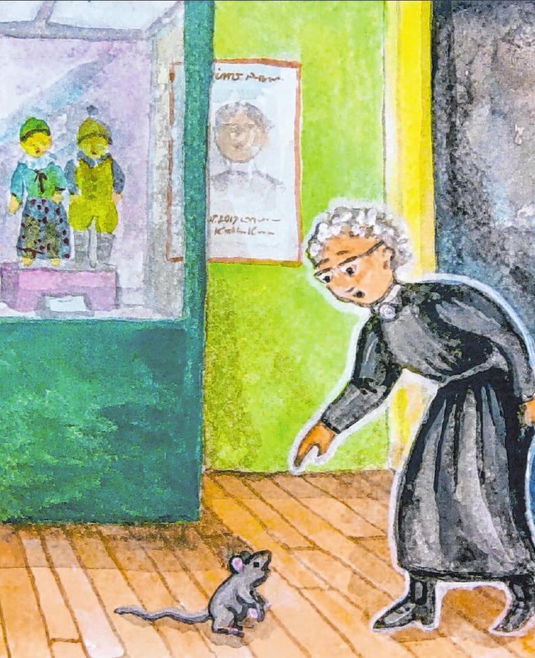 Das Käthe-Kruse-Puppen-Museum lädt Familien ein, mit dem Käthe-Mause-Märchen von Irmgard Maurer das Puppenmuseum zu erkunden. Illustration: Irmgard Maurer