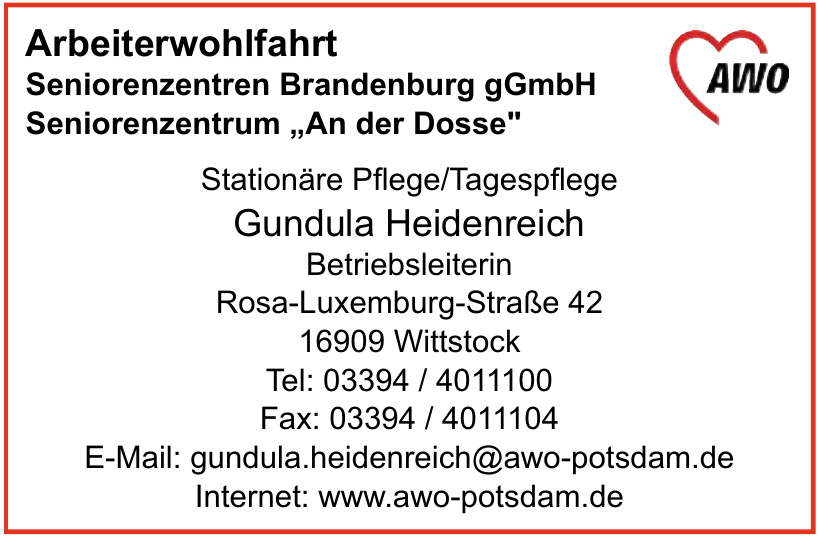 AWO Arbeiterwohlfahrt Seniorenzentren Brandenburg gGmbH Seniorenzentrum