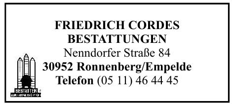 Friedrich Cordes Bestattungen