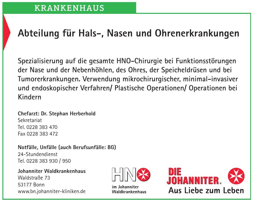 Johanniter Waldkrankenhaus - Abteilung für Hals-, Nasen und Ohrenerkrankungen