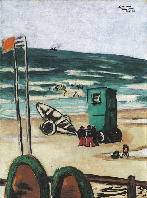 Max Beckmann, Badende mit grüner Kabine und Schiffern mit roten Hosen, 1934. Foto: Karen Bartsch/Grisebach GmbH